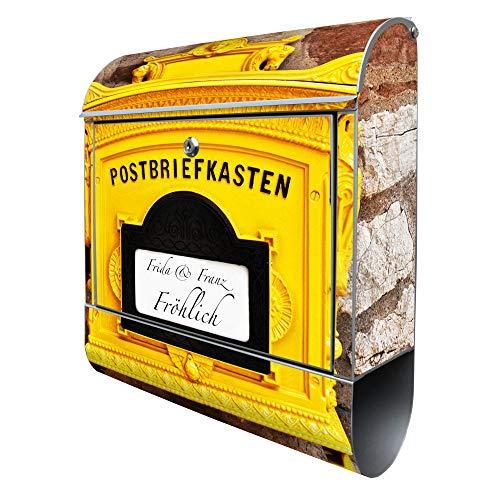 BANJADO Design Briefkasten mit Zeitungsfach, 2 Schlüssel, A4 Einwurf, silber pulverbeschichtet, mit Motiv WT historischer Postkasten