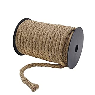 Tenn Well 10mm Jute Rope, 50 Feet Thick and Strong Natural Jute Twine for Gardening, Bundling, Camping, Decorating (Brown)