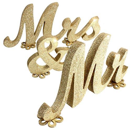 Flushzing Melden Sie Herr und Frau Schatz Hochzeit Tischdekorationen Holzbuchstaben Gold Glitter mit Blumen-Dekor-Basis (Glitter Hochzeit Dekor)