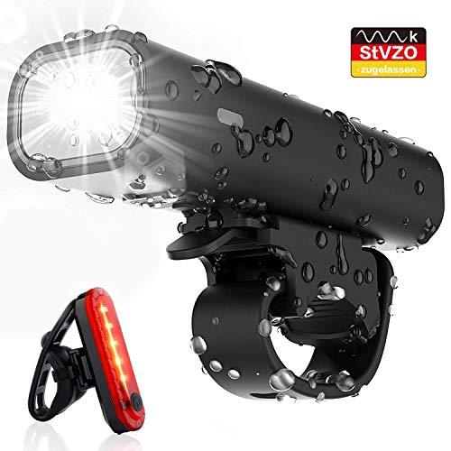 Pezimu Fahrradlicht Set - StVZO Zugelassen LED Fahrradbeleuchtung - Wasserdicht Frontlicht Rücklicht Fahrradlampe fahrradlichter USB Wiederaufladbare Set