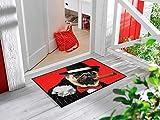 Bavaria-Home-Style-Collection Fußmatte wash+Dry Design Hund mit Hut Zigarre Salvatore rot Größe 50x75 cm waschbar tolle Geschenk-Idee