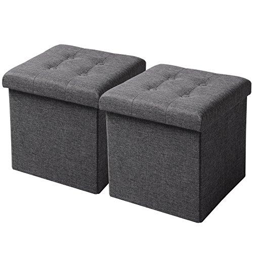 WOLTU SH06dgr-2 2er Set Sitzhocker mit Stauraum Sitzwürfel Sitzbank Faltbar Truhen Aufbewahrungsbox, Deckel Abnehmbar, Gepolsterte Sitzfläche aus Leinen, 37,5x37,5x38CM(LxBxH), Dunkelgrau