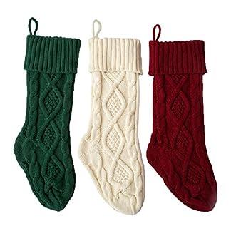 3 paquetes, 18 pulgadas calcetines de punto muy grandes Decoración de Navidad blanco / rojo / verde