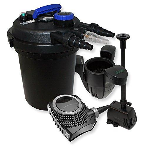 WilTec Kit de Filtration de Bassin à Pression 6000l Stérilisateur 70W Pompe éco Ecumeur