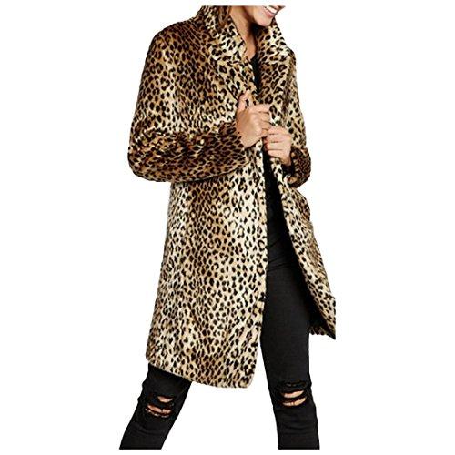 Leopard-taste (Partiss Damen Winter Luxus Leopard Gedruckt Kunstpelz Jacke Eine Taste Mittellanger Revers Graben Mantel,M,Leopard)