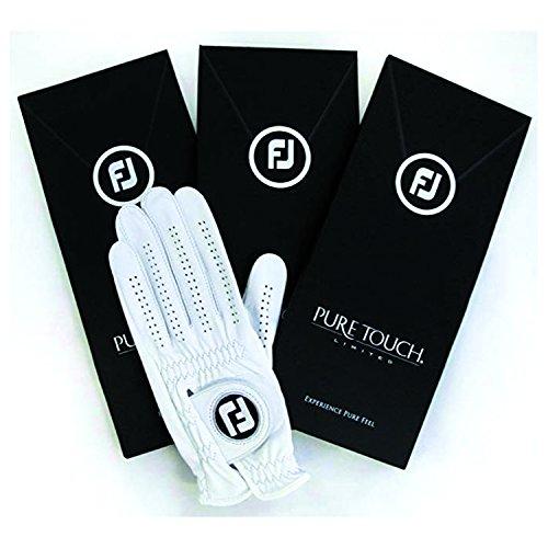 Footjoy Herren Golfhandschuh Pure Touch, Limitierte Auflage, Links getragen, weiß, XL 3 Pack-Master Carton