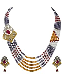 Silvestoo India Ruby (Lab), Zircon, Citrine & Amethyst Quartz Gold Plated Necklace & Earring Set For Women & Girls...