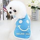 ZHJZ Katze Hund Dekoration Sommer Ärmelloses Dünnes Lächeln Weste Haustier Kleidung Blau S for Katze Pet Kleidung