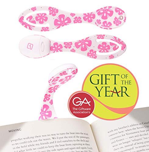 LÁMPARA DE LECTURA PARA LIBRO | Linterna con luz LED para leer en la cama | 2 EN 1 - Mini Flexo portatil con pinza Clip y Marcapáginas | Pilas incluidas | Regalo de Navidad ideal | Flores Rosas