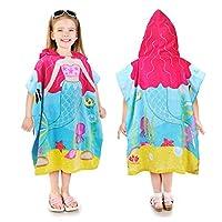 Kato Tirrinia Mermaid Hooded Bath Towel for 2 to 6 Years Girls,100% Cotton Water Absorption Beach Poncho Swim Changing Robe,Sand Proof