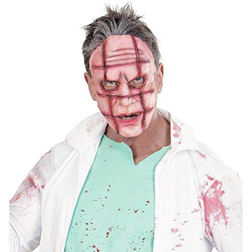 Camuffamento volto horror psicopatico maschera zombie con cicatrici viso spaventoso da mostro trucco zombi the walking dead faccia finta di halloween con ferite travestimento volto da morto vivente pazzo