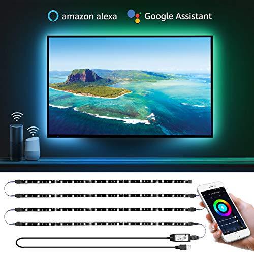 LE Lampux Striscia LED Retroilluminazione TV 2M 5050 SMD, Strisce WiFi Smart Controllo Vocale e App, Cambio Colore e Modalità Luce, Compatibile con Alexa e Google Home (4 Strisce LED da 50 cm)