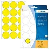 Herma 2271 - Etiquetas multiuso, diámetro 32 mm, redondo, papel mate, 480 unidades, color amarillo