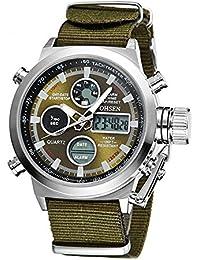 Homme Montres de luxe marque Militaire Quartz plongée à LED Sport étanche watch-green