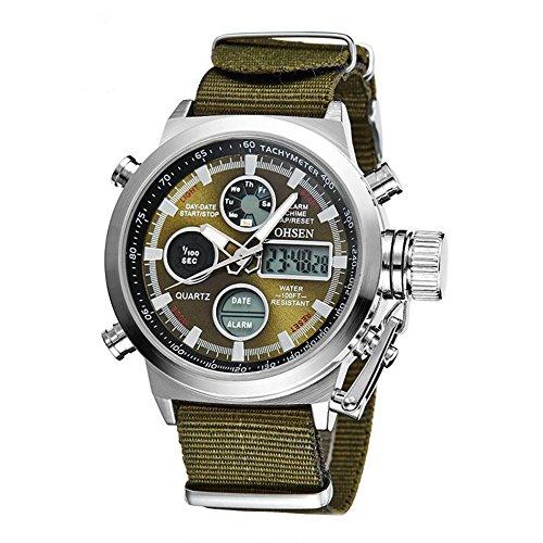 Relojes para hombre, estilo militar, LED, para buceo, de cuarzo, impermeable, para deportes