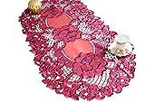 AHS Grande Nappe Ovale Chemin de Table Bordeaux 60x 120cm Fleur Patern Brodée