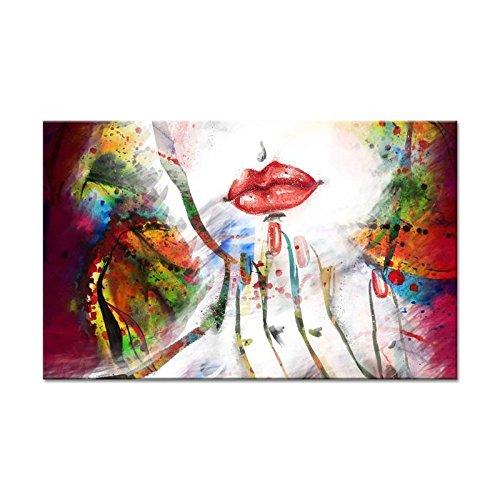 PORTRAIT Tableau déco toile imprimée 150x80 cm rouge