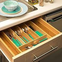 Home Treats bambú ajustable Bandeja De Cubiertos Inserto De Cajón De Cocina Para ahorro de espacio