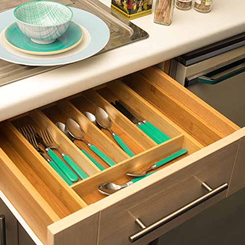 Home Treats Kitchen Cutlery Tray. Fit To Drawer. Adjustable Cutlery Organiser Tray for Drawer.
