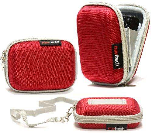 Navitech Rote Wasser Wiederständige Harte Digital Kamera Tasche für Das Nikon Coolpix L29 / Coolpix L30 / Coolpix L31 (L29-digitalkamera Nikon)