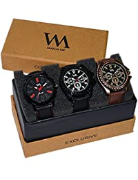 WM Stylish Quartz Analog Watches Leather Multicolor Combo For Men And Boys AWC-001-AWC-003-AWC-004aeons