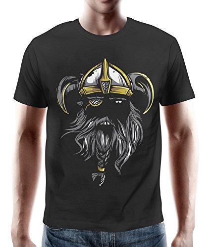 adrotes – T-Shirt WIKINGER ZOTTELBART IN THE DARK schwarz Gr. S - - Kleinkind-shirt Wikinger