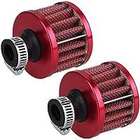 BQLZR 13 mm, colore: rosso, a forma di Mini-Presa d'aria, valvola di sfiato basamento motore, filtro di sfiato, confezione da 2