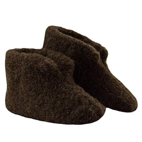 SamWo,Fußwärmer Hausschuhe 100% Schafwolle braun Braun