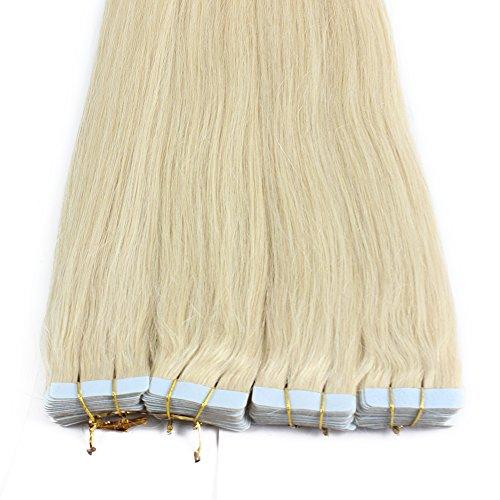 Iwona 40pcs 100g Lange Gerade Glatte Perücke PU Band Echthaar Meschenhaar Haarverlängerung Haarverdichtung Human Hair Extensions hellblond #60 24inch