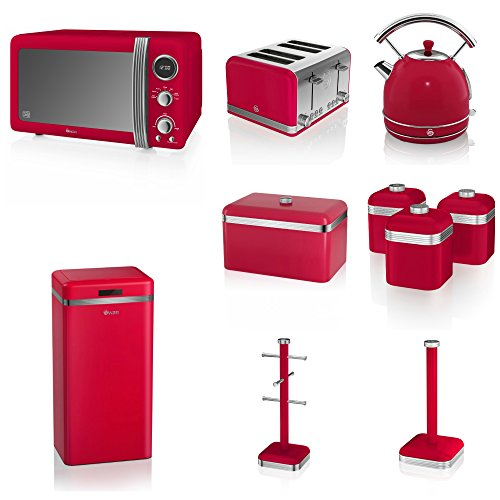 Swan Red Kitchen Appliance Retro Set Of 10 - Retro Digital Microwave, 20 Litre, 800 Watt, 1.7 Litre Red Dome Kettle & Retro Stylish Red 4 Slice Toaster Retro Red Breadbin, 3 Canisters, Towel Pole, 6 Mug Tree And Sensor Rubbish Bin Set