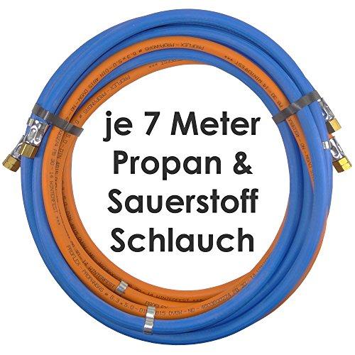 Propan Sauerstoff Gasschlauch Zwillingsschlauch 7 Meter - Semperit Profi Gummischlauch zum autogen schweißen oder schneiden - Semperit Profiqualität von Gase Dopp -