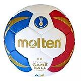 Molten Ballon de handball uni Squeezy - réplique Coupe du Monde France 2017 - Bleu/Blanc/Rouge/Doré, 0