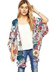Culater® Mujeres Ocasional Floral Kimono ImpresióN Tops De Gasa Blusa (M)