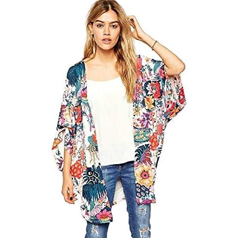 Culater® Mujeres Ocasional Floral Kimono ImpresióN Tops De Gasa Blusa (S)