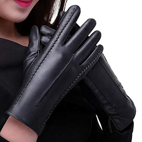 TEBAISE Damen Faux Leder Handschuhe Touchscreen Winter Warm Langes Handschuhe Luxury Ladies Weichen Faux Lederhandschuhe mit Bowknot-Stich-Entwurf Fäustlinge