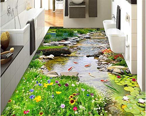 Große und ästhetische PVC 3D-Tapete Park kleiner Fluss Wasser 3D-Boden Stereo-Malerei für Indoor-Schlafzimmer -