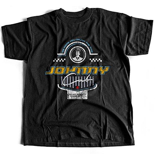 9382 Johnny Cab Herren T-Shirt Federal Colonies Mars Colony Recall Kuato Memory Lives Rekall Mine Total Moon Sarang Space Lunar(Large,Black) (Ärmel Johnny-kragen-shirt)
