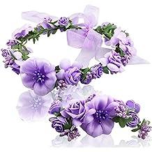 Atrezzo Novia Comunion Damas de Honor madrinas de diadema corona de flores violetas lilas y pulsera con cierre cinta gasa diseños ideales novedad 2018 de OPEN BUY