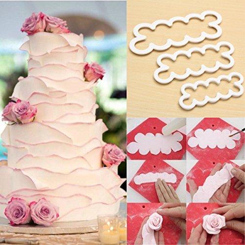 Bazaar 3pcs Rose Flower Petal Cutter Fondant Kuchen Schokolade Sugar Mold Dekor Werkzeug - Petal Rose Cutter