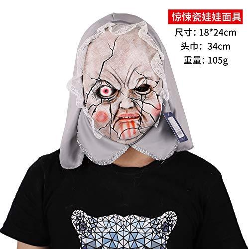 Puppe Dämon Kostüm - DY Halloween Maske Horror Kostüm Tanz Dämon Gas Maske Zombie Untote Latex Kopf Set Party Kultur P0300701436 Thriller Porzellan Puppe Maske (69-1-14)