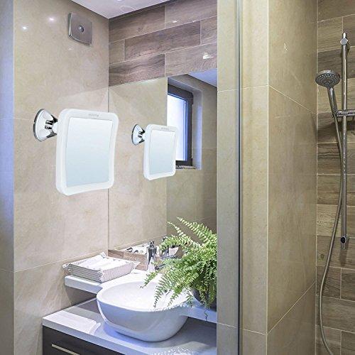 Auxent Kosmetikspiegel LED Beleuchtet mit 10x Vergrößerung und Starkem Saugnapf, 360° Schwenkbar, Make-Up-Spiegel Schminkspiegel mit Blendfreier Beleuchtung für Zuhause und Unterwegs - 7