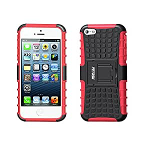 iPhone 5S Case, iPhone 5 Case,iPhone SE Case,Fetrim Heavy Duty Armor Rugged Dual Layer Hybrid Shockproof TPU Case Protective Cover for iPhone 5 5S SE with Built-in Kickstand (Red)