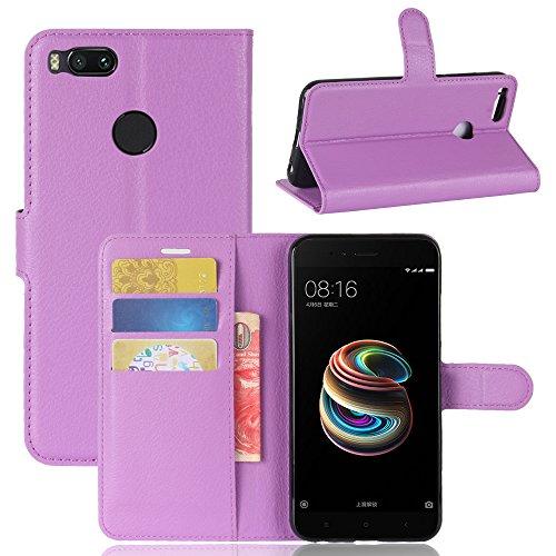 Happon Funda Xiaomi Mi 5X / Mi A1 [Funda de Piel] [Soporte Funciones] [Portatarjetas] Caja Magnética Cierre Caja Protección Completa para Xiaomi Mi 5X / Mi A1 (Púrpura)