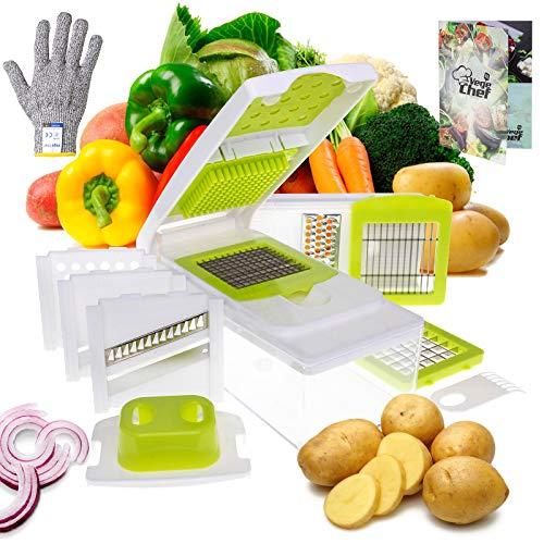 Vege Chef robuster 13 in 1 Gemüsehobel mit Sicherheitshandschuh und Reinigungsbürste - Mandolinen Schneider für Salat, Gemüse und mehr - Praktische Reibe, Hobel und Raspel Aufsätze