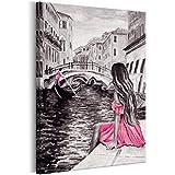 murando Bilder Venedig Stadt 80x120 cm - Leinwandbild - 1 Teilig - Kunstdruck - Modern - Wandbilder XXL - Wanddekoration - Design - Wand Bild - Wie Gemalt Grau Rosa Pink d-B-0218-b-a