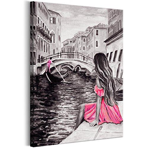 murando - Bilder Venedig Stadt 60x90 cm Vlies Leinwandbild 1 TLG Kunstdruck modern Wandbilder XXL Wanddekoration Design Wand Bild - wie gemalt grau rosa pink d-B-0218-b-a