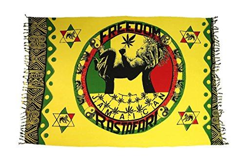 Ciffre Original Yoga Sarong Pareo Wickelrock Strandtuch Rund ca 170cm x 1110cm Handtuch Schal Kleid Wickeltuch Wickelkleid Freiheit Symbol Jamaican Rasta