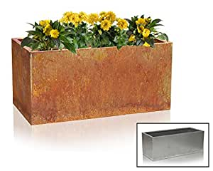 cache pot rectangulaire acier corten largeur 100cm x longueur 40cm jardin. Black Bedroom Furniture Sets. Home Design Ideas