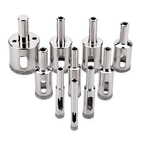 Tacklife Lochsägensatz, diamantiert, HSS, für Keramik, Glas, Fliesen, Steingut, 10-teilig Glas-fliesen-kreis