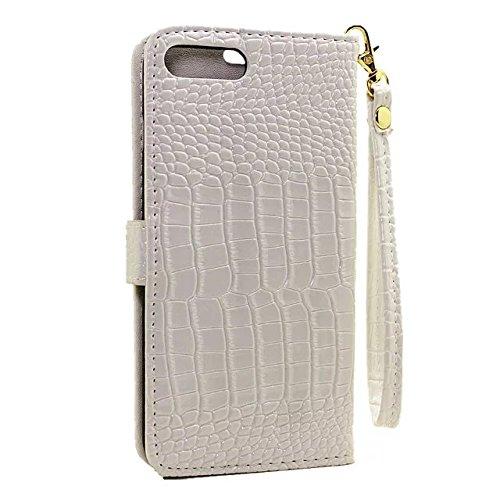 IPhone 7 Plus Case, Glatte Oberfläche Krokodil Pattern 3 Card Slots Flip PU Leder Brieftasche Case Mit Lanyard Für IPhone 7 Plus ( Color : White ) White